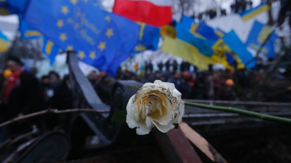 A rose, the symbol of the revolution, lies on barricades being built by Pro-EU activists next to the Ukrainian Government building in Kiev on December 8.