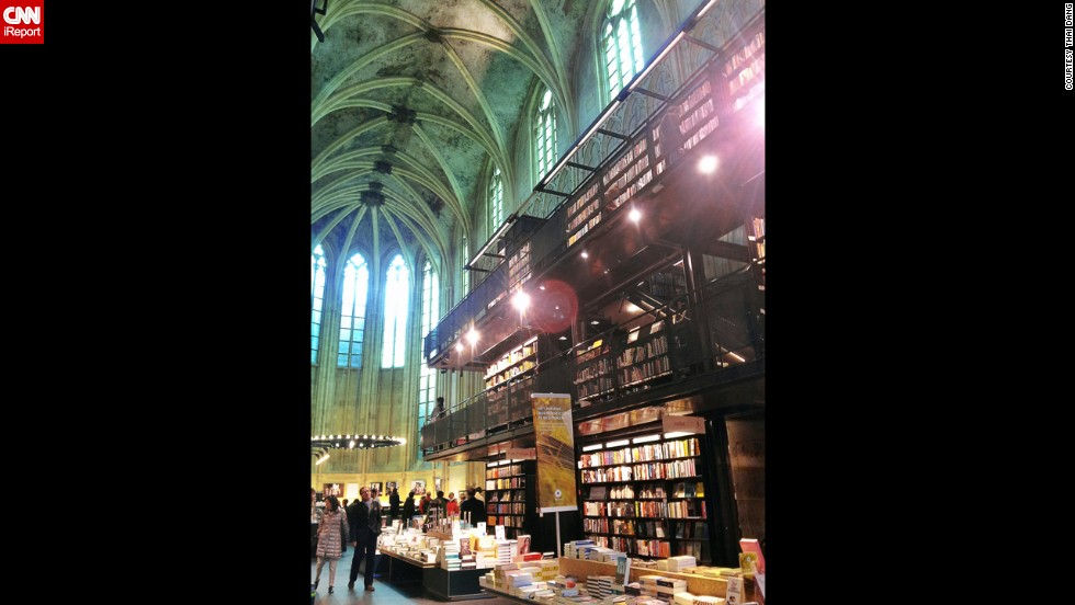 "The Boekhandel Selexyz Dominicanen in Maastricht, Netherlands, is a 13th-century Dominican church that was converted into a bookstore that opened in 2007. It has won architectural awards and is considered by many visitors to be ""the world's coolest bookstore,"" in the words of <a href=""http://ireport.cnn.com/docs/DOC-1063487"">iReporter Thai Dang</a>."