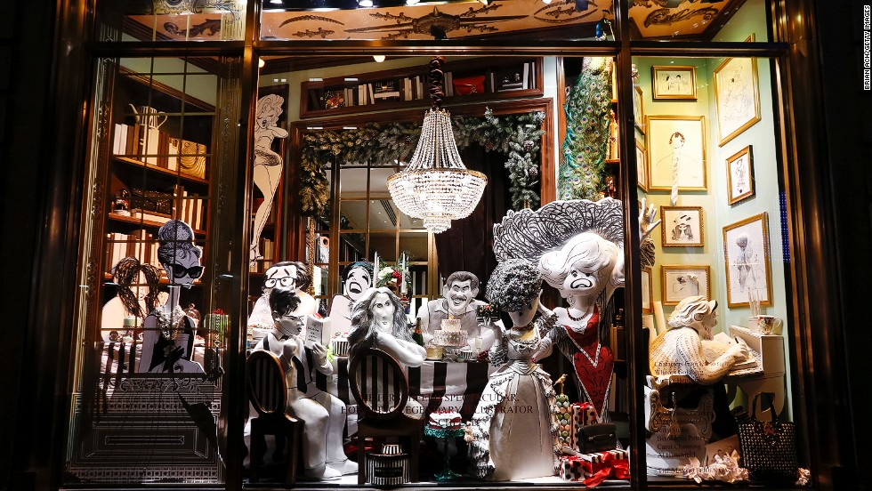 "<strong>""Hirschfeld Spectacular,"" Henri Bendel, New York:</strong> For<strong> </strong>the ""Hirschfeld Spectacular"" at Henri Bendel in Manhattan, the Fifth Avenue boutique collaborated with Margo Feiden Galleries to create a 3-D tribute to the late line artist Al Hirschfeld, known for his renderings of celebrities spanning a 75-year career. This window recreates a New York townhouse Christmas dinner party with Marilyn Monroe, Sarah Jessica Parker, Liza Minnelli, Woody Allen, Whoopi Goldberg and Audrey Hepburn."