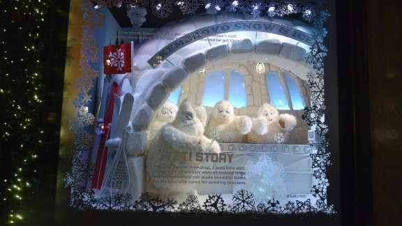 """<strong>""""The Yeti Story,"""" Saks Fifth Avenue, New York:</strong> This year, the windows at New York's Saks Fifth Avenue tell a Christmas story about the life of a Yeti and how a humble Siberian monster became a snowflake artist in New York City."""