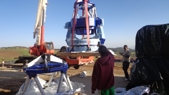 Engineers assemble the telescopes in the Entoto Mountains.