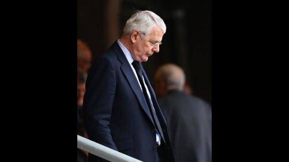 Former British Prime Minister John Major arrives for the memorial service.