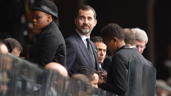 Spain's Prince Felipe arrives at FNB Stadium.