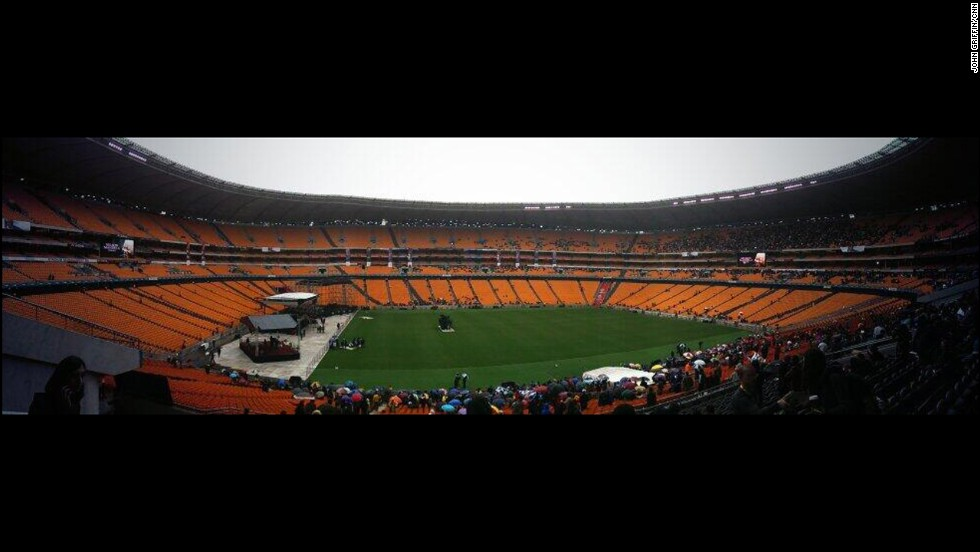 The FNB Stadium where Mandela's memorial service was held can seat around 90,000 people.