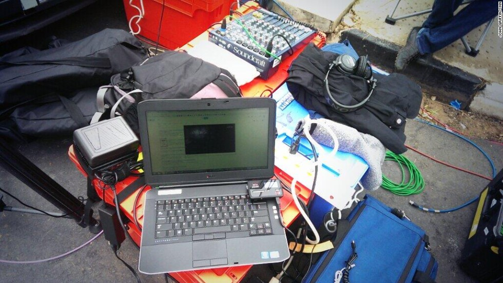 "Producer Griffin's ""work space"" from Johannesburg for coverage of the Mandela memorial."