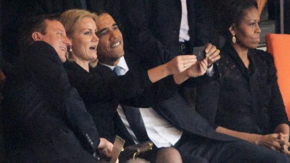 Denmark's Prime Minister Helle Thorning-Schmidt snaps a selfie with British Prime Minister David Cameron  and U.S. President Barack Obama.