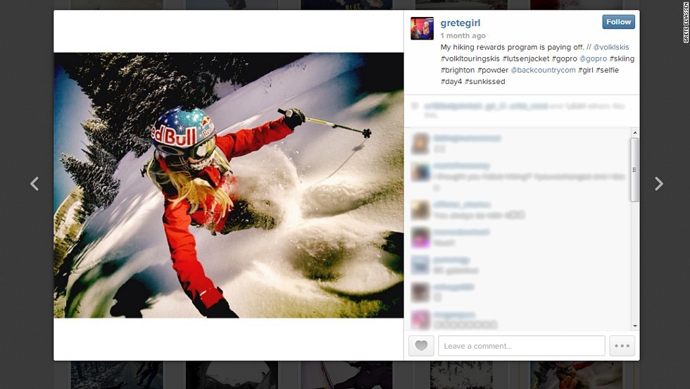 As Eliassen's Instagram account shows, her camera often joins her on the slopes.