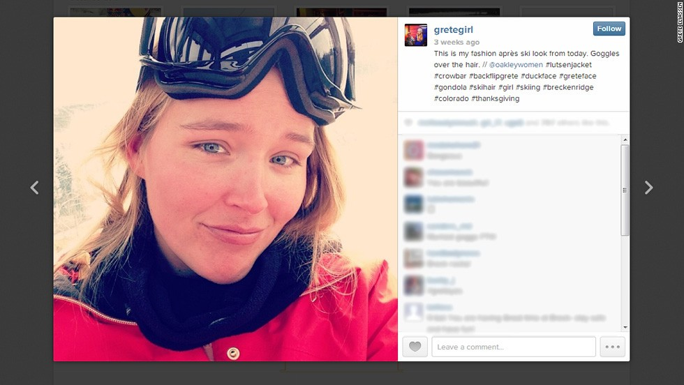 Grete Eliassen is a U.S. freestyle skier who has always enjoyed pushing herself and her sport to new heights. As her Instagram account shows, Eliassen will bring plenty of flair to slopestyle's Olympic debut at Sochi 2014.