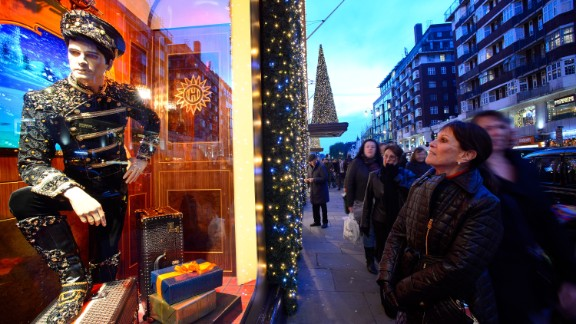"""<strong>""""The Harrods Express,"""" Harrods, London:</strong> The iconic Knightsbridge department store went with a hyperglamorized steam train theme this year. More than 50 people spent 500 hours creating ornate train scenes that include a piano bar and lavish dinner parties."""