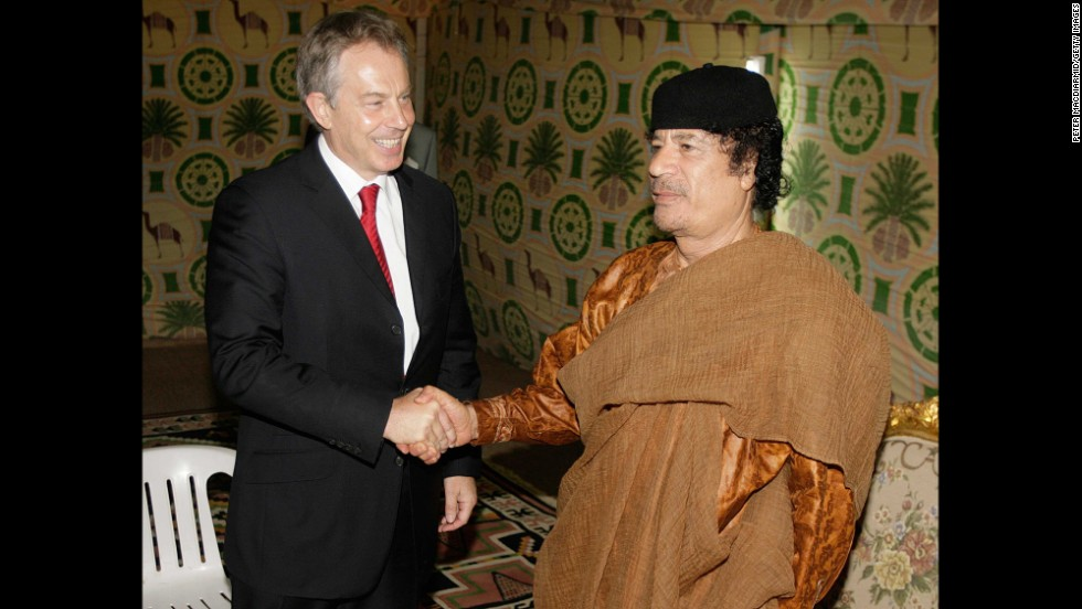Prime Minister Tony Blair, left, meets with Moammar Gadhafi on May 29, 2007, in Sirte, Libya.