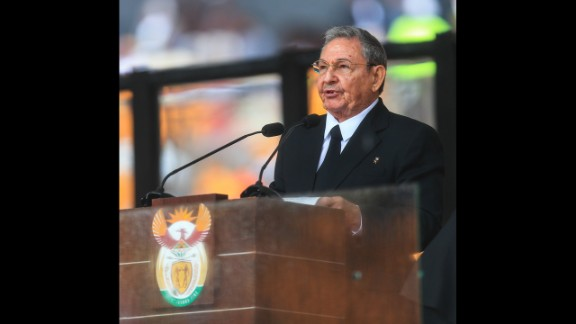 Cuban leader Raul Castro addresses the state memorial service for Mandela.