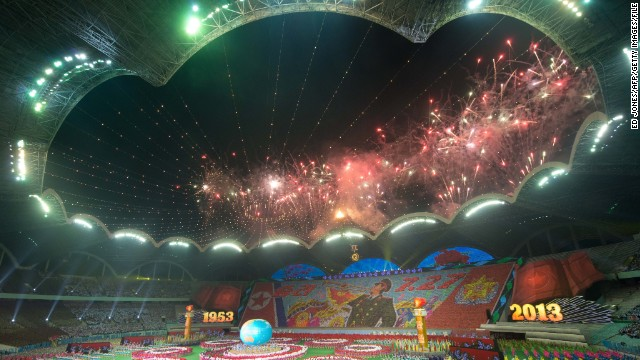 A general view shows the finale of an 'Arrirang Festival mass games display' at the massive Rungnado May Day Stadium in Pyongyang on July 26, 2013.