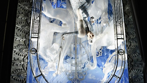 """<strong>""""Holidays on Ice,"""" Bergdorf Goodman, New York:</strong> No, that's not an upside-down photo -- it's an upside-down window. The holiday featured in this wintry scene? April Fool's Day."""