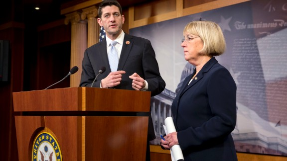House Budget Committee Chairman Paul Ryan, R-Wis., and Senate Budget Committee Chairwoman Patty Murray, D-Wash., announce a tentative agreement between Republican and Democratic negotiators on a government spending plan, at the Capitol in Washington, Tuesday, Dec. 10, 2013. Negotiators reached the modest budget agreement to restore about $65 billion in automatic spending cuts from programs ranging from parks to the Pentagon, with votes expected in both houses by week