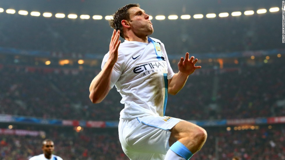 James Milner celebrates scoring Manchester City's winning goal against Bayern Munich in the Group D match at the Allianz Arena on Tuesday.