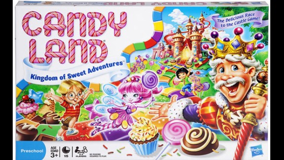 The Kingdom of Sweets Candy Land board game by Hasbro in 2010. The game has been made over to become more appealing to children.
