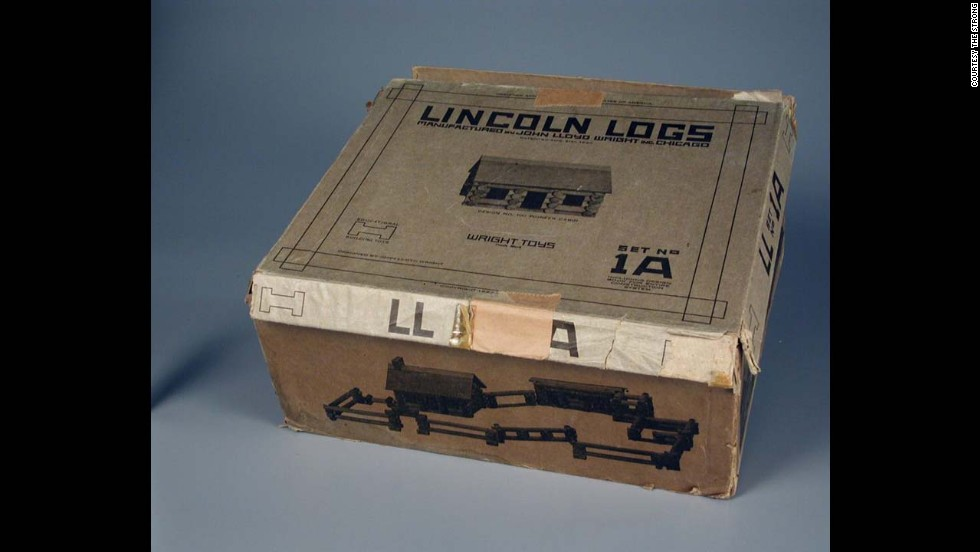 Lincoln Logs construction set by John Lloyd Wright Inc. in 1920. Developed by John Lloyd Wright, son of architect Frank Lloyd Wright in 1916. Wright Jr. used the likeness of our 16th president, who began his life in a log cabin.