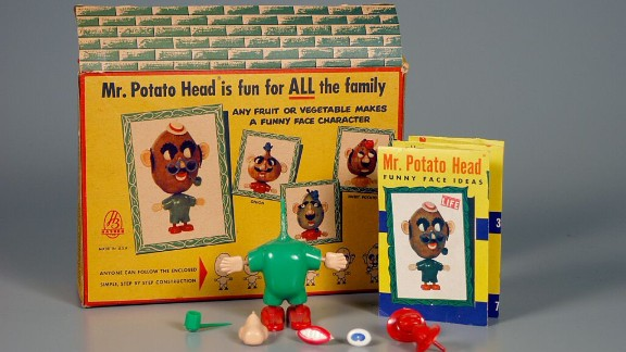 Mr. Potato Head Funny-Face Kit play set By Hassenfeld Bros. Inc. circa 1955. Mr. Potato Head, the first toy advertised on television, is also food -- at least, it started out that way. Created by inventor George Learner as a way for kids to eat their vegetables, he created the plug-in facial features to be distributed into cereal boxes. The first Mr. Potato Head came with 28 face pieces, but you had to supply your potato. Later, the stench of rotting spuds led Hasbro to supply a plastic potato with the set.