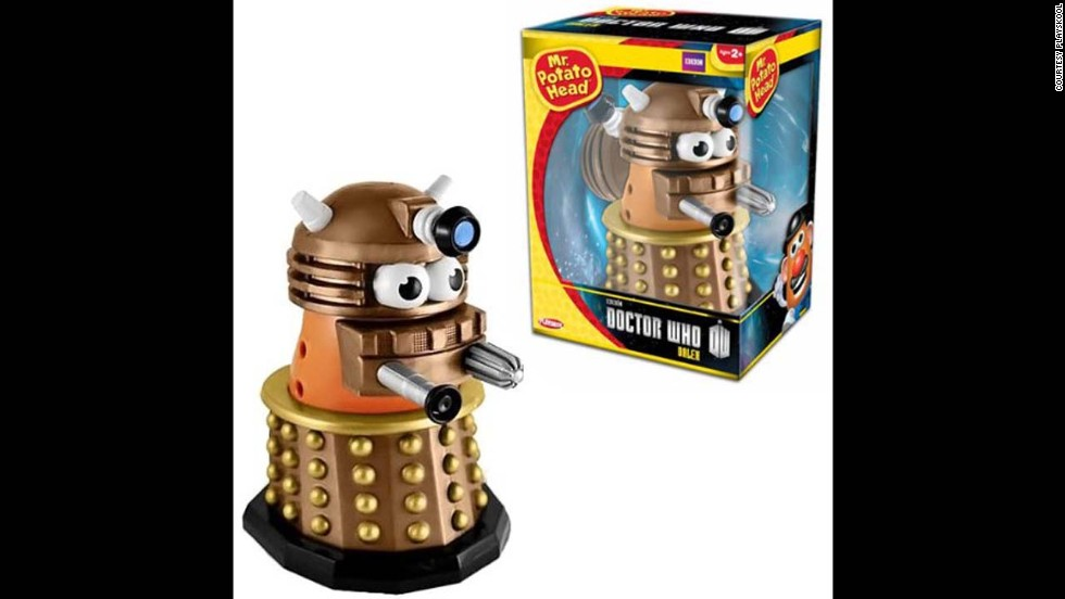 "Dalek Doctor Who Mr. Potato Head by Playskool in 2013. Mr. Potato Head now comes as many characters and yet remains a ""nostalgia"" toy that crosses generations."