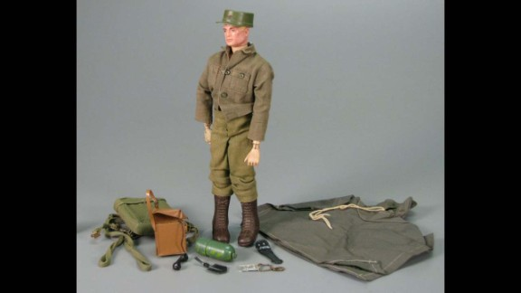 """G.I. Joe Action Soldier by Hasbro circa 1965.   G.I. Joe is """"America's Moveable Fighting Man,"""" with 21 moving parts and representing each of the four branches of the US armed forces. The toy did $16.9 million in sales in its first year."""
