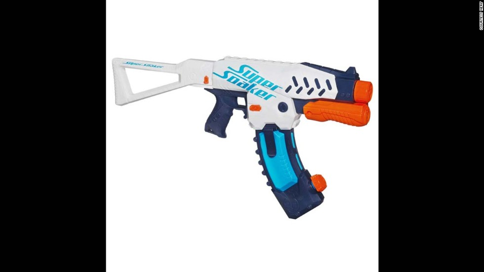 Super Soaker Switch Shot Blaster by NERF in 2013. It is the first water blaster to incorporate air pressure for more water pressure to come streaming out. The Switch Shot Blaster holds 570 milliliters of water and is the only blaster in 2013 that uses a water banana clip.