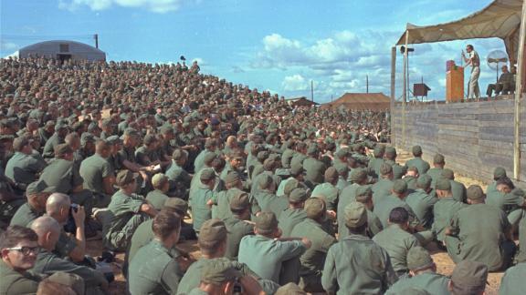 Graham speaks to more than 5,000 US troops in Vietnam in 1966.