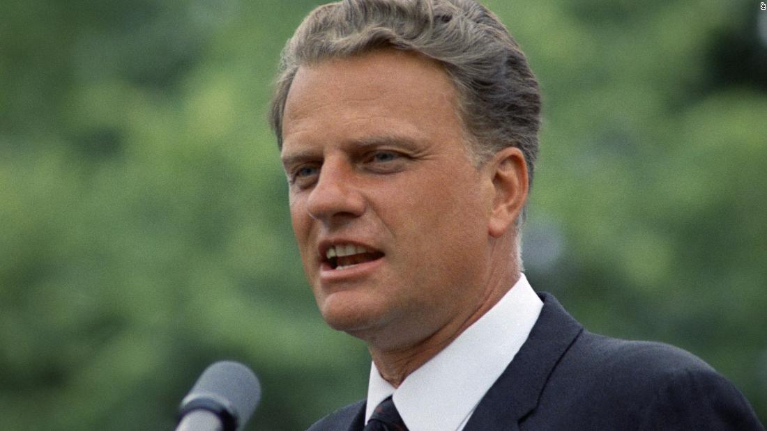 "Graham addresses an audience in 1967. He was frequently listed by Gallup as one of the ""Ten Most Admired Men in the World."""
