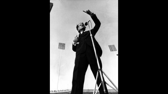 Graham speaks at Liberty Bowl Memorial Stadium in Memphis, Tennessee, in 1978. Inclement weather had forced the crusade to the nearby Mid-South Coliseum, but when the clouds lifted, Graham went to the stadium to speak to those who could not get into the smaller indoor arena.