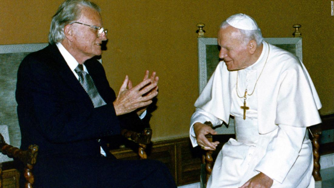 "Pope John Paul II meets with Graham at the Vatican in 1993. Graham had often been called the ""Protestant Pope."""