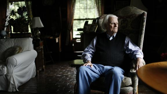 Graham sits in his mountain home in Montreat, North Carolina, in 2006.