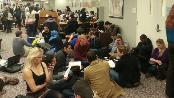 Many students took shelter in a university library during the two-hour lockdown spurred by reports of a gunman on campus.