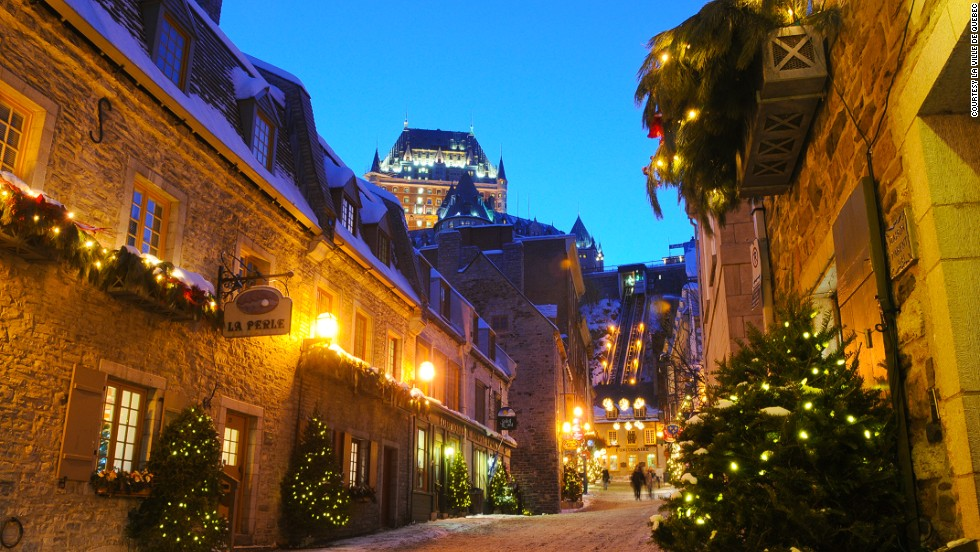 Old Quebec is turned into a Christmas village straight out of a Charles Dickens story.