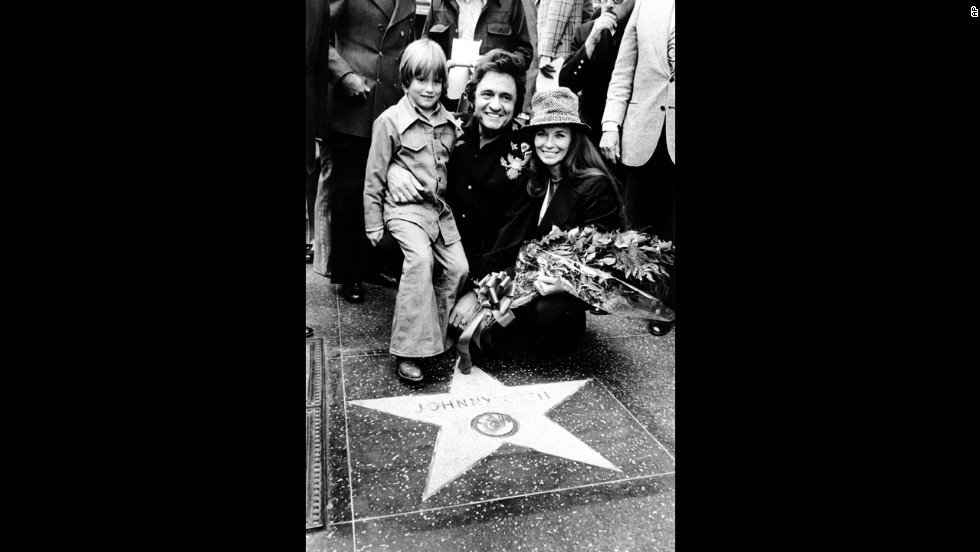 Cash with his wife, June, and son, John, at the dedication of a star honoring him on the Hollywood Walk of Fame in Los Angeles on March 10, 1976.