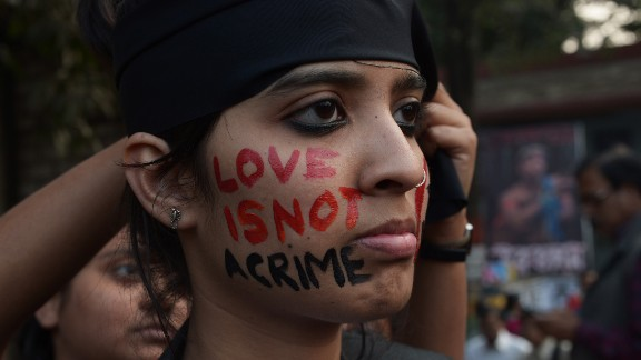 An Indian gay-rights activist takes part in a protest against the Supreme Court ruling reinstating a ban on gay sex in Kolkata on December 11, 2013.