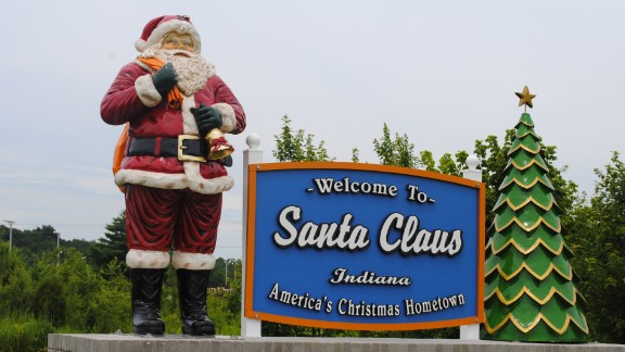 <strong>Santa Claus, Indiana:</strong> Christmas is a year-round occasion in this Midwest town of fewer than 3,000 residents. Santa Claus, Indiana, receives thousands of letters a year from children trying to reach St. Nick himself.