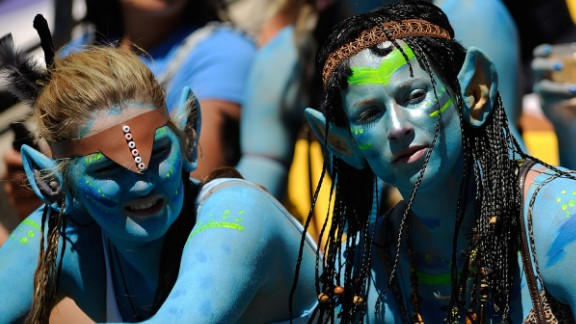 Fans don blue paint and Avatar costumes at the Wellington Rugby Sevens tournament. Dressing up in costume has become a cult activity at sevens events the world over.