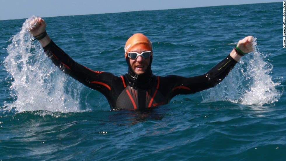 At the start of his 1400 km swim, Conway was full of optimism despite the challenge ahead.