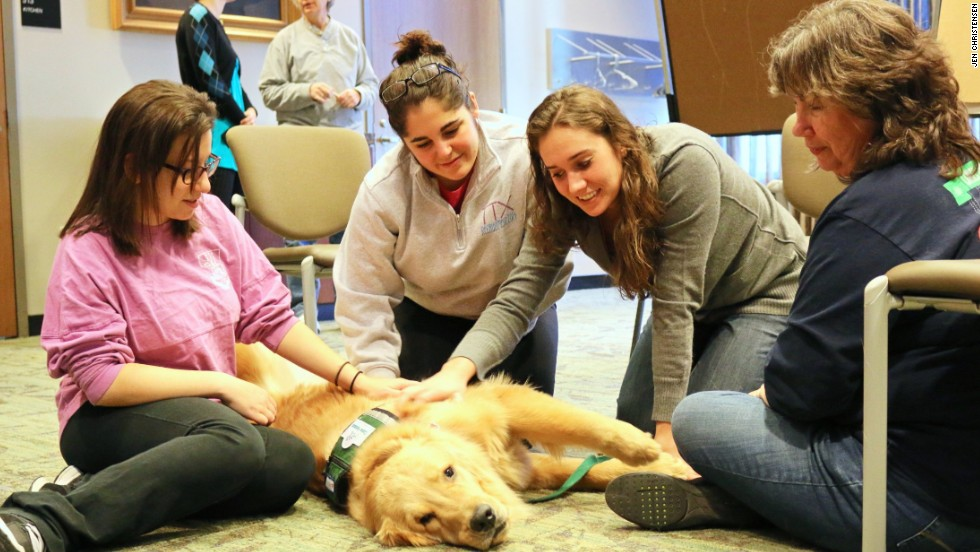"Emory pre-med student Ali Serpe, center, tells the dog she is petting, Wesley, ""You are the perfect medicine for finals."""