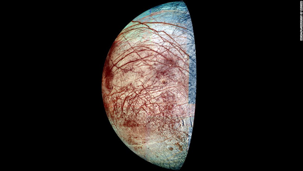 Europa is covered with ice that is riddled with cracks. It surface temperature can get as low as -328 degrees Fahrenheit, not exactly warm enough to support life. But under the ice is an ocean that scientists believe is warmed internally. It could support life, if the water's chemistry is right. Astronomers want to send an unmanned craft to try to find out.