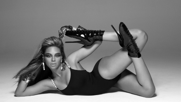 "Beyonce during the filming of her hugely popular music video ""Single Ladies (Put A Ring on It)."""