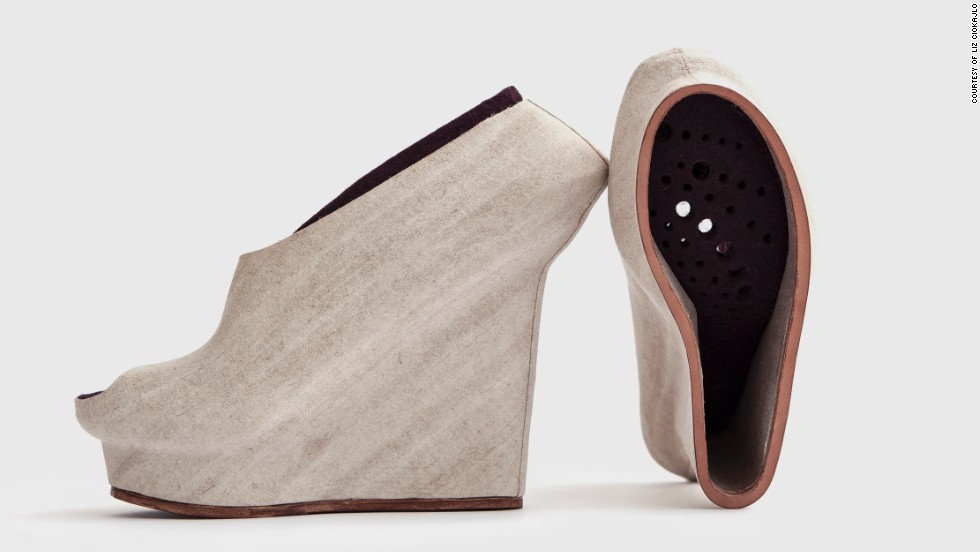 "Designer <a href=""http://lizciokajlo.co.uk/"" target=""_blank"">Liz Ciokajlo</a> believes natural materials, including coconut husks, hemp and flax, can be utilized in the 3-D printing process. She 3-D printed molds for these shoes and then wrapped them in natural fibers. As she says: ""3-D print has the potential to address economic and sustainable issues the footwear industry is facing."""