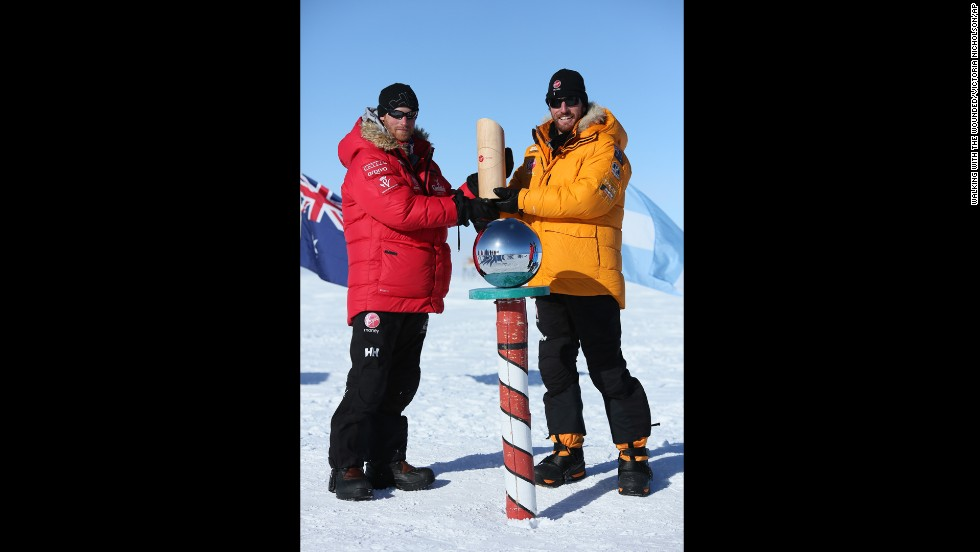 Britain's Prince Harry and Heath Jamieson of Team Commonwealth pose at the bottom of the world.
