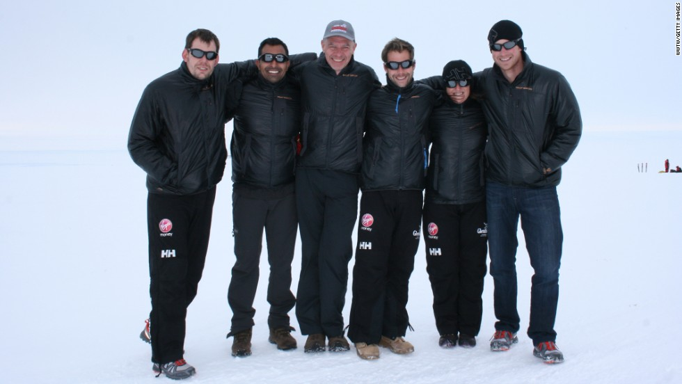 Team UK members (from left) Kate Philp, Guy Disney, Richard Eyre, Ibrar Ali, Duncan Slater and Prince Harry pose for a photo during training for the South Pole challenge.