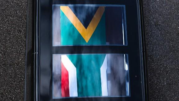 A hearse carrying Mandela