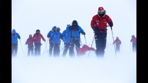 Prince Harry pulls the pulk guiding U.S. team member Ivan Castro, who is blind, as he takes part in ski training near Novo, Antarctica.
