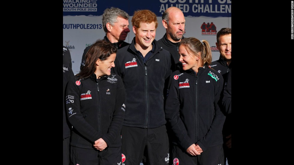 Prince Harry attends the Walking With the Wounded South Pole Allied Challenge departure event at Trafalgar Square on November 14 in London.