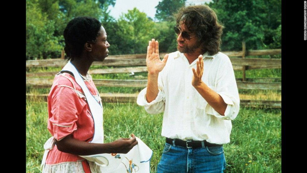"Actress Whoopi Goldberg has a conversation with Spielberg during production of the 1985 film ""The Color Purple."" The film, an adaptation of Alice Walker's novel, was nominated for Best Picture and earned Goldberg a Best Actress nomination."