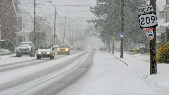 Snow blankets West Market Street in Pottsville, Pennsylvania, on December 14.