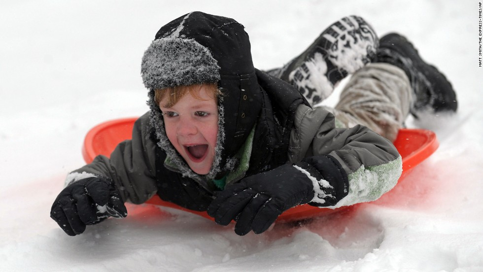 Ward Bianchi, 4, sleds down a hill at Nevin Park in Easton, Pennsylvania, on December 14.