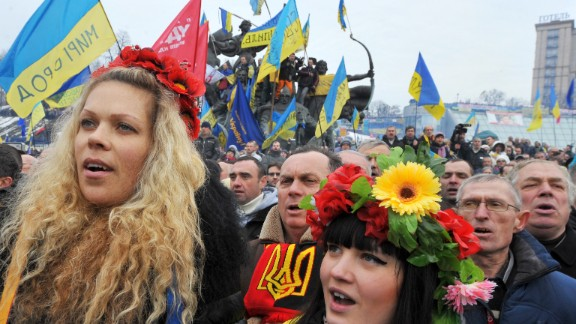 Ukrainian opposition supporters gather at a mass rally in Kiev on December 15.